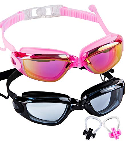 SBORTI Swim Goggles,Pack of 2 Adult Swimming Goggles for Women Men Youth,Mirrored & Clear No Leaking,Anti Fog,UV Protection Swim Glasses Water Goggles