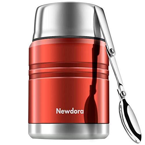 Newdora Food Flask Thermosspeisebehälter Edelstahl Isolierte Essensbehälter mit Faltlöffel, Lebensmittel Becher, Vakuum-Doppelwandig BPA-frei, auslaufsicher 17 Unze(Red)