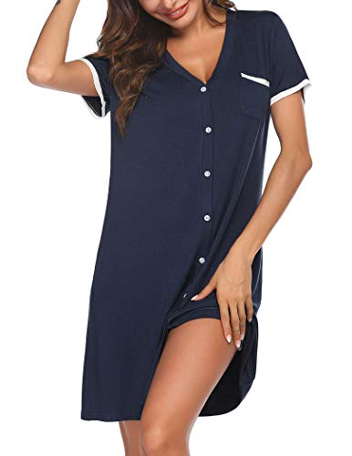 Unibelle Dames nachthemd V-hals korte mouwen slaapshirt korte knoopsluiting zomer vrouwen slaapshirt nachtkleding losse fit maat S-XXL