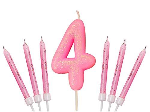 Gadget - Vela con número gigante para tarta de cumpleaños con purpurina, disponible en color dorado, azul, rosa, plata y oro rosa, Rosa, Number 4
