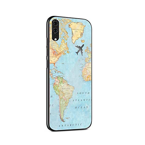 Mapa del mundo de vidrio templado caso del teléfono para Huawei P10 P20 P30 Lite P20 P30 Pro P smart Protection Cover Coque-G6-para Huawei P20 Lite