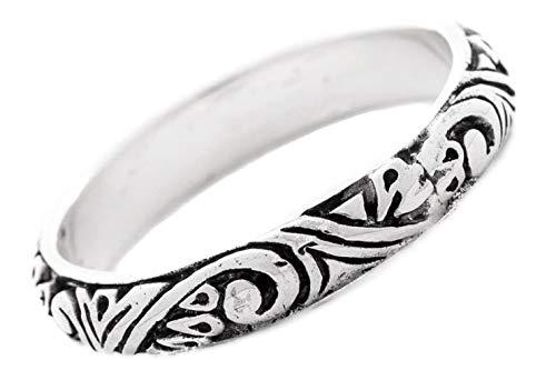 WINDALF Schmaler Mittelalter Ring TARA h: 0.4 cm Hochwertiges Silber (Silber, 60 (19.1))