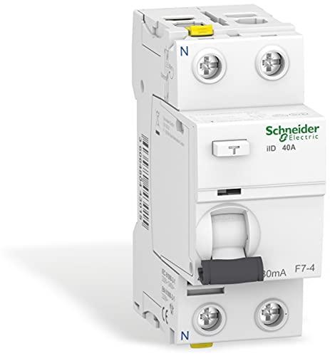 Schneider A9Z21240 Interruptor diferencial iID, 2P, 40 A, 30 mA, Tipo A, Blanco