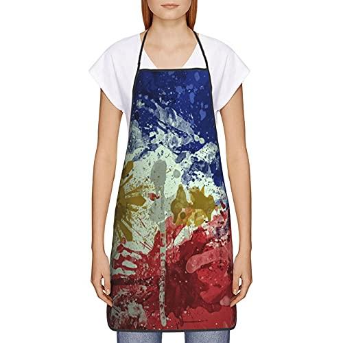 WXM Delantal cuadrado de la bandera de Filipinas para cocinar la hornada jardinería artesanía ajustable impermeable resistente al agua delantal 20.4 × 28.3 pulgadas