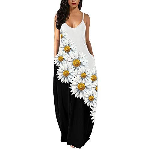 YAOBF Sommerkleid Damen V Ausschnitt Sommerkleid Baby Vivance Sommerkleid Sommerkleid Lange Strandkleider Damen Sommerkleid Kurzarm Damen (Weiß 7,S)