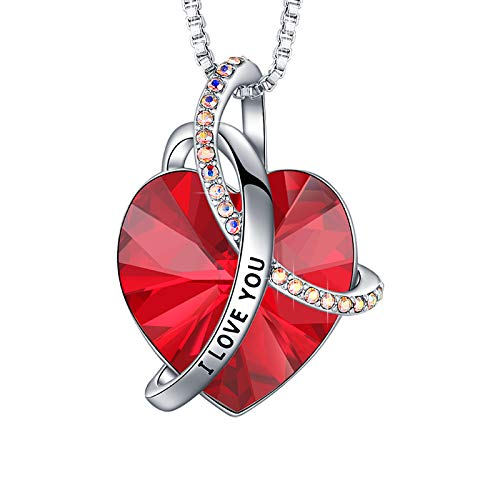 EleShow I Love You Necklaces for Women, Love Heart Pendant Red January Birthstone Crystal Birthday Gifts for Women