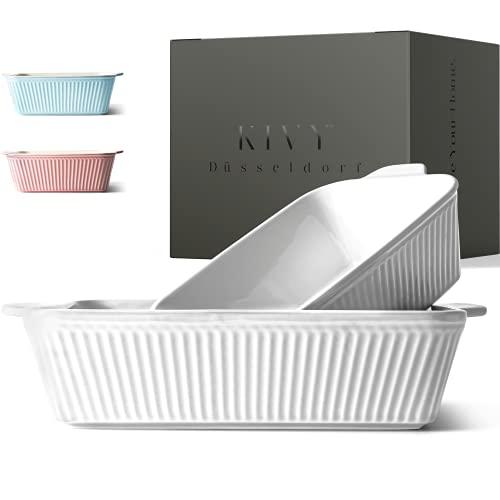 KIVY® Auflaufform [2er Set] - Perfekt für Lasagne,Tiramisu & Aufläufe - Lasagne Auflaufform Keramik - Auflaufform groß + Auflaufform klein 1-2 P. -Lasagneform - Ofenform rechteckig - Tiramisu Form