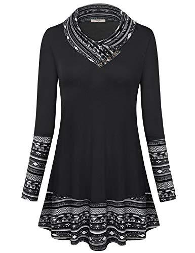 Bebonnie Tunic Tops for Leggings for Women, Womens Long Sleeve Cowl Neck Boho Patchwork Tunics Top Ladies Printed Swing Blouse Shirt Black Medium