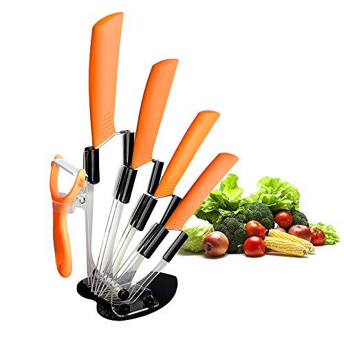 CORESLUX Keramikmesser Set, Messer Keramik mit 4-teilig Messer und 1 Sparschäler, rostfrei und schmutzabweisend Küchenmesser Set für Fleisch, Brot, Obst & Gemüse (Orange)