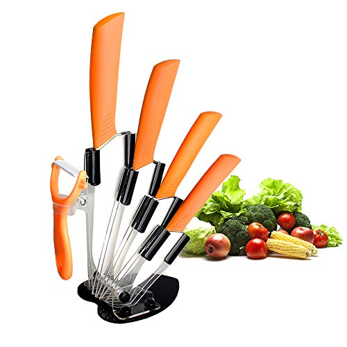 "Ceramic Knife Set,Five Piece 6"" Chef Knife, 5"" Utility Knife, 4"" Fruit Knife, 3"" Paring Knife, 1'' Vegetable Fruit Peeler, Rust Proof And Stain Resistant, Kitchen Chef Knife Sharp Set (Orange)"