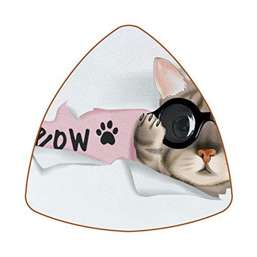 Posavasos triangulares para bebidas, diseño de gato con gafas de sol, de piel, para proteger muebles, resistente al calor, decoración de bar, juego de 6