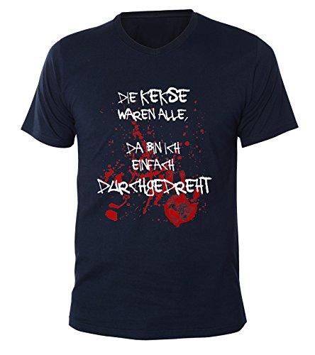 Mister Merchandise Herren V-Ausschnitt T-Shirt Die Kekse Waren alle, da Bin ich einfach durchgedreht, V-Neck, Größe: XXL, Farbe: Navy