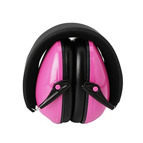 ECMQS Gehoorbescherming voor volwassenen en kinderen, compact, comfortabel en opvouwbaar, verstelbare oorbeschermers roze