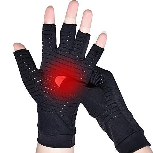 Kupfer Arthritis Handschuhe, Kupferhandschuhe gegen rheumatoide Arthrose und Schmerzen im Karpaltunnel, Hochwertige fingerlose Kompression shandschuhe für das Tippen und die tägliche Arbeit (Medium)