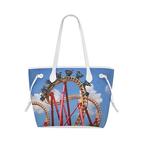 Bolsa de hombro para niñas Un juego emocionante Roller Coaster Book Tote Bag Tote Duffel Bag Gran capacidad resistente al agua con mango duradero