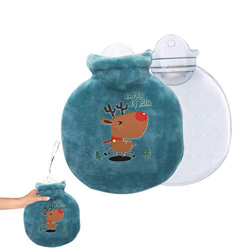 Borsa dell acqua calda per bambini, con fodera, borsa dell acqua calda rimovibile e lavabile, borsa dell acqua calda con copertura lavabile in maglia, il miglior Natale e l inverno (alcce verde scuro)