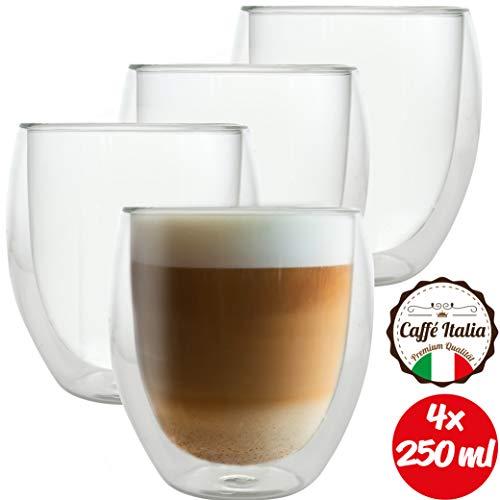 Caffé Italia Roma 4 x 250 ml Doppelwandige Gläser - Thermogläser für Cappuccino Tee Heiß- und Kaltgetränke - spülmaschinengeeignet