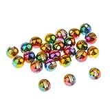 FLAMEER 25 Stück Wolfram 4mm Fliegenbinden Perlen für Jighaken - Angeln Zuebehör - Regenbogen