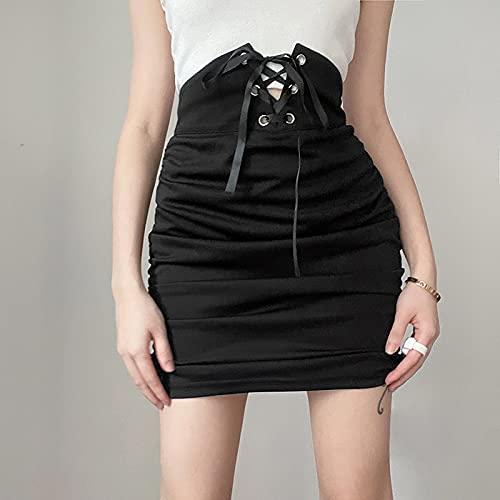 Falda Corta Plisada Tenis Mujer Niñas Falda De Vendaje De Lápiz De Cintura Alta Faldas Góticas con Pliegues Negros Punk Falda Corta Sexy Elegante Harajuku S Negro