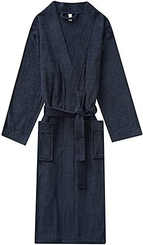 Pijama Acogedor cuello kimono toalla de toalla tapa con cinturón de bolsillo parejas de baño for gimnasio spa spa Traje de encaje (Color : Navy Blue, Size : M)