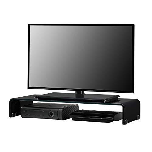 Supporto di Rialzo Monitor/TV/PC Portatile 80 x 30 x 13 cm Mobile in Vetro Base per Schermi - Nero