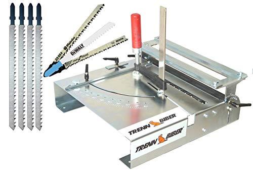 Stichsägetisch Bundle Trenn-Biber 012L-4 + Sägeblätter von Metabo Bosch Dewaltl +4 lange T-Schaft Stichsägeblätter für Stichsägen - Sägetisch, zum Laminat schneiden
