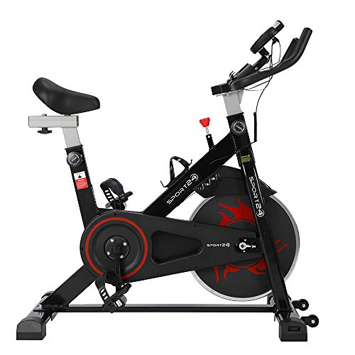 Sport24 Bicicleta Estática para Uso Doméstico, Sensor de Pulso, Monitor LCD Multi-Función, Equipo de Entrenamiento Cardiovascular, Fitness, Niveles Multi-Resistencia, Bicicleta con Rueda Motriz