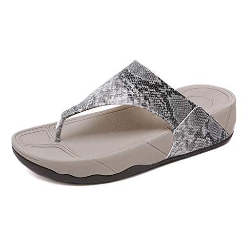 BEILA Pantuflas T-Flip Pantuflas Casuales para Mujer Piel de Serpiente Cuña de Leopardo Zapatillas de Playa para Exteriores, tamaño 6-12,Gris,10