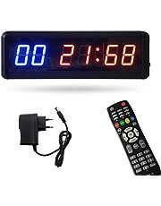 Roeam Timer med fjärr- och väggfäste, stöd för stoppur nedräkning/Up Tabata Clock FGB cykel Timing Funktion, perfekt för Home Gym Fitness Training