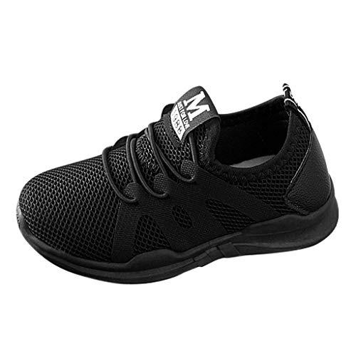 DAY8 Basket Fille Pas Cher Mode Basket Enfants Garçon Sport Running Chaussure Garcon Lacet Automne Mesh Tricot Sneakers Fille Printemps Chaussure de Course Fille Caoutchouc (Noir, 30 EU)