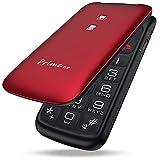 Easyfone Prime-Flip gsm Teléfono móvil para Personas Mayores con Tapa, Teléfono fácil de Usar con Botón SOS y Base de Carga (Rojo)