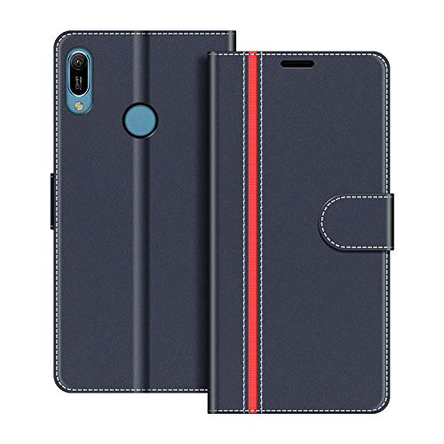 COODIO Handyhülle für Huawei Y6 2019 Handy Hülle, Huawei Y6 2019 Hülle Leder Handytasche für Honor 8A / Huawei Y6 2019 Klapphülle Tasche, Dunkel Blau/Rot