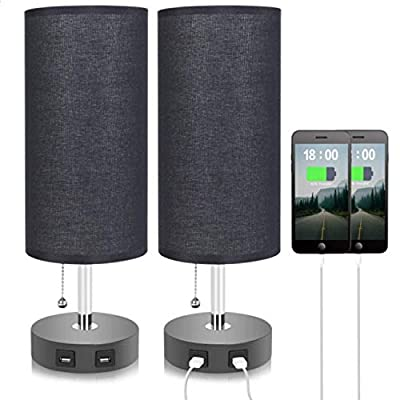 Black Dual USB Table Lamp, Seealle Bedside Nightstand Desk Lamp with Black Fabric Lampshade, Convenient Pull Chain for Bedroom, Living Room(Pack of 2)
