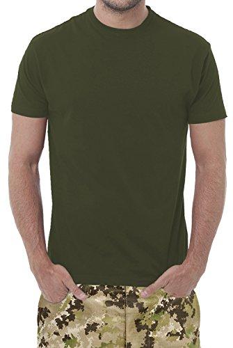 Set di n° 3 T-Shirts Verde Militare - Maglietta Unisex - 100% Cotone - 150 Grammi - JHK MOD. TSRA 150 (44-46 M EU Uomo, Verde Militare)