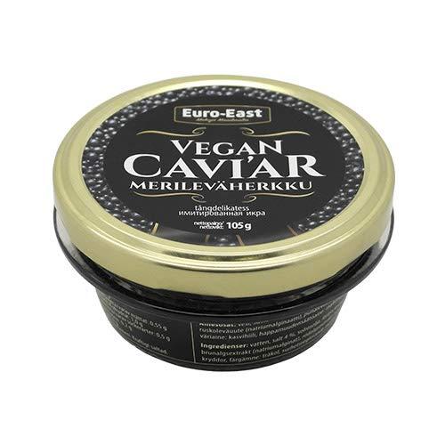 Euro-East Vegan Kaviar Schwarz (6x105g), Natürliche Vegetarisch Sea Weed Caviar, 6er Pack
