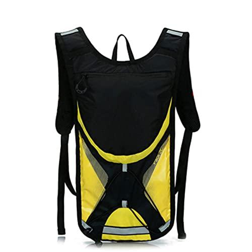 DTKJ - Zaino per ciclismo, con sacca da 2 l, per attività all'aria aperta, zaino portatile per bicicletta, Uomo, Nero giallo