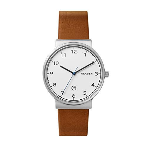 Skagen Herren Analog Quarz Uhr mit Leder Armband SKW6433