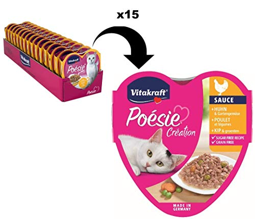Vitakraft Poésie Katzenfutter, Nassfutter, Huhn & Gartengemüse in Sauce, 15 x 85g