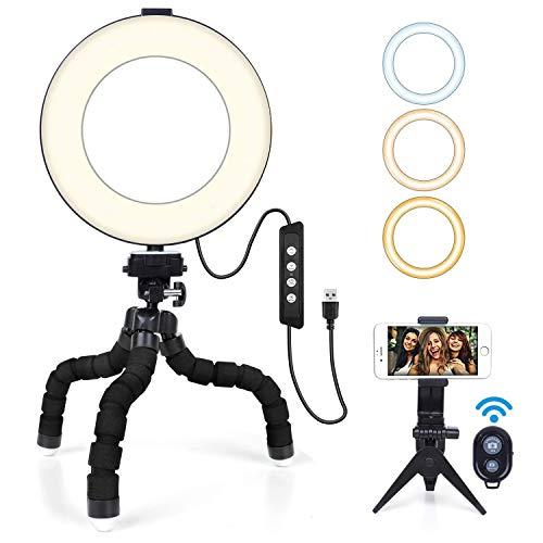 """ring light mactrem 6"""" Ring Light MACTREM Luce ad Anello LED con Treppiede Flessibile Octopus e Supporto per Smartphone"""