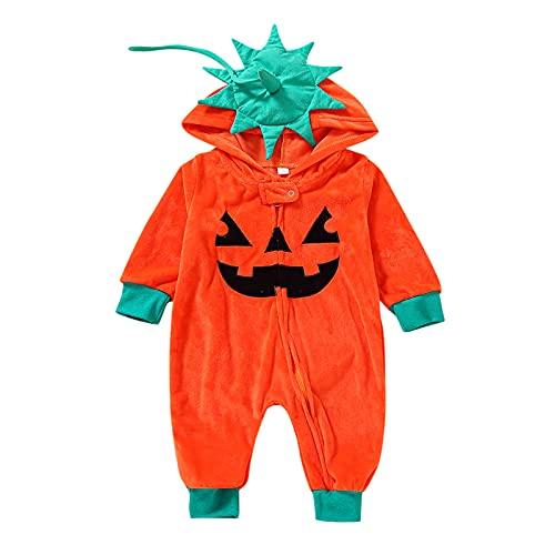 BIBOKAOKE Kleinkind Baby Jungen Mädchen Winter Warm Langarm Halloween Mit Kapuze Reißverschluss Cartoon Kürbis Strampler Halloween Baby Kostüm Bekleidungsset Süßes Säugling Jumpsuits