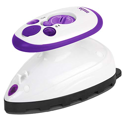 ANSIO Travel Iron Quilting Mini Steam Craft Iron with Ceramic Soleplate | Small Compact Travel Steamer - Perfect for Travel, Quilting & Sewing - Purple/White