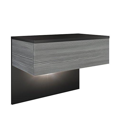 Vladon Nachttisch Nachtkonsole Sleep, Korpus in Schwarz matt/Front und Seiten in Avola-Anthrazit, inkl. LED Beleuchtung