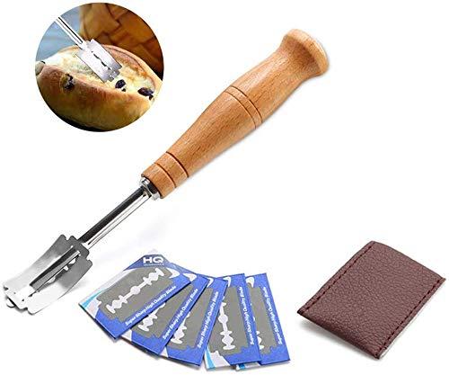 Huahua - Cuchillo para pan, panaderos, cuchilla de madera, con 5 arcos de acero inoxidable, recambio de cuchillas, funda de protección de piel