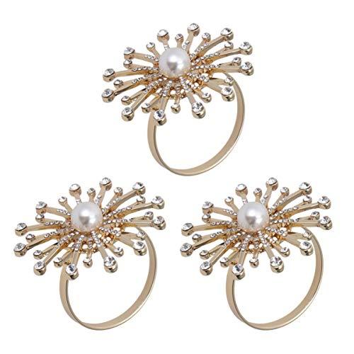 UPKOCH 3 stücke serviettenringe Strass perlenblumenform serviettenschnallen Halter für Hochzeit liefert esstisch Dekorationen
