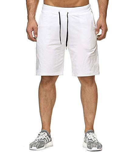 Yamadan Mens Drawstring Casual Sweat Gym Shorts Elastic Waist Athletic Short Pants Summer Active Workout Joggers with Pockets (L, White Gym Shorts)