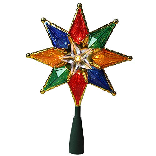 Northlight 8' Multi-Color Mosaic 8-Point Star Christmas Tree Topper - Clear Lights