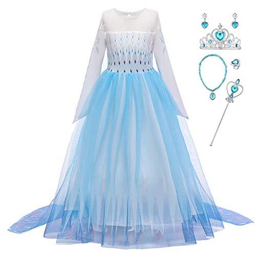LOBTY Disfraz de Princesa de Elsa para nias, Disfraz de Reina del Hielo, Vestido de Princesa con Copos de Nieve, Vestido de Tul, Navidad, Carnaval, Fiesta de cumpleaos Costume + Accesorio 2-14 Aos