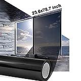 Vinilo Solar para Privacidad de Ventanas Sin Adhesivos Anti UV Ahorro Energético Cristal Tintado Efecto Espejo, 60x200cm