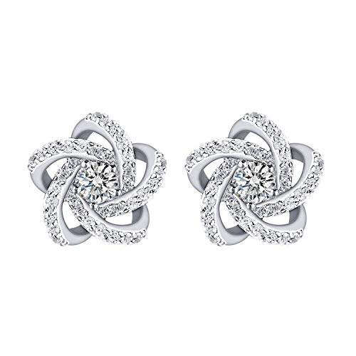 GEORGE · SMITH 925 Sterling Silver Earrings for Women Girls with Crystals from Swarovski, Flower Earring Studs Gifts for Mom, Wife, Daughter
