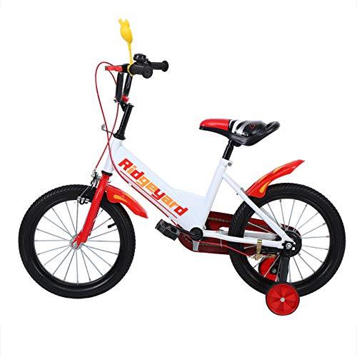 MuGuang 16 Zoll Kinder Fahrrad Kinder Fahrrad Lernen Reiten Fahrrad Jungen Mädchen Fahrrad mit Stabilisatoren Children Bike für 4-8 Jahre (Rot)